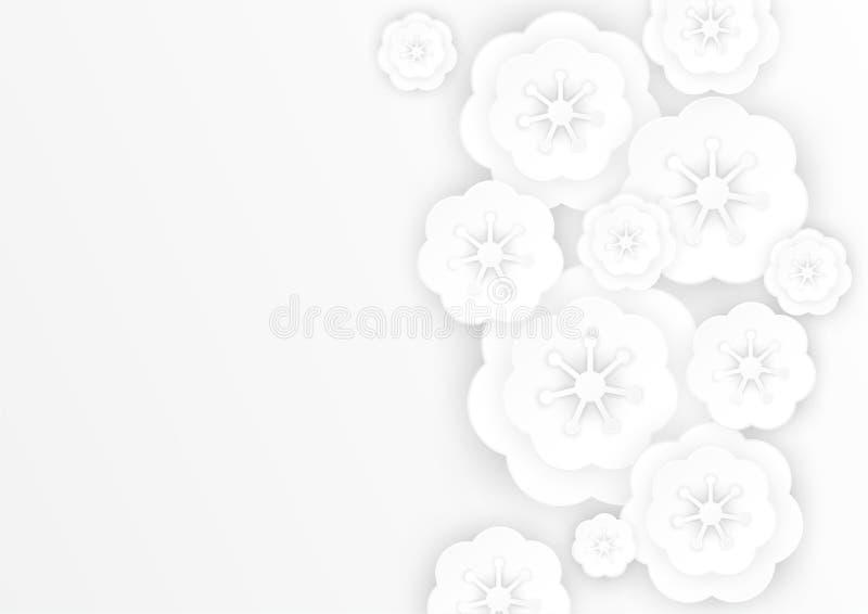 O papel bonito das flores cortou o fundo branco cinzento decorativo ilustração do vetor