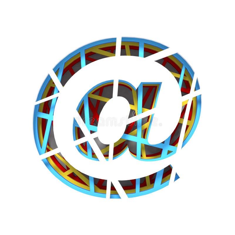 O papel colorido cortou o CORREIO da fonte NO SINAL 3D ilustração do vetor