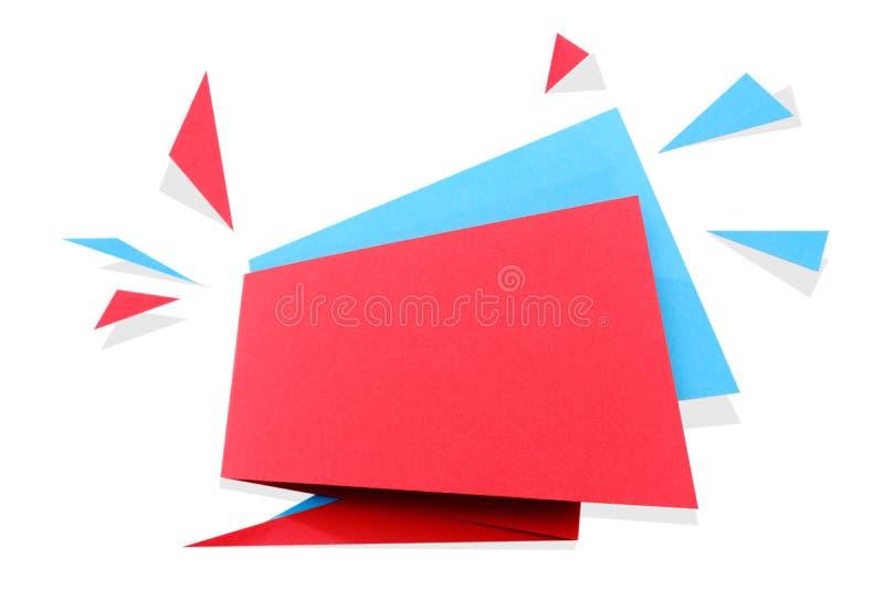 O papel cortou a bandeira geométrica da venda, oferta especial, disconto Molde na moda da etiqueta da etiqueta do origâmi Texto d fotografia de stock royalty free