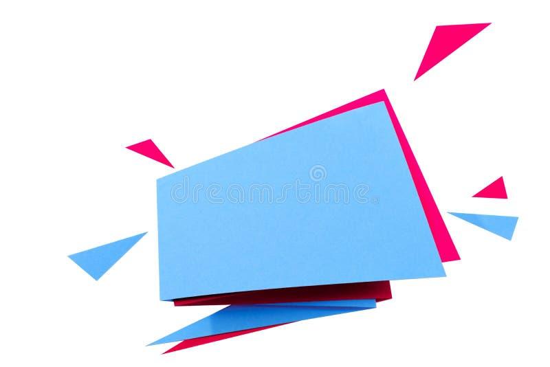 O papel cortou a bandeira geométrica da venda, oferta especial, disconto Molde na moda da etiqueta da etiqueta do origâmi Texto d imagem de stock