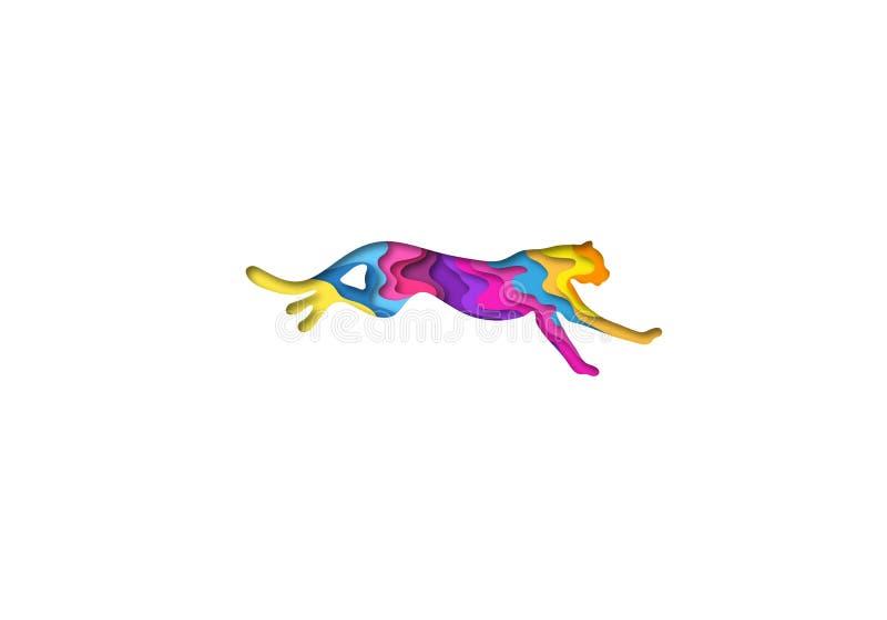 O papel cortou a chita, origâmi da forma 3D dos animais do safari Projeto na moda da forma do conceito Ilustração do vetor ilustração do vetor
