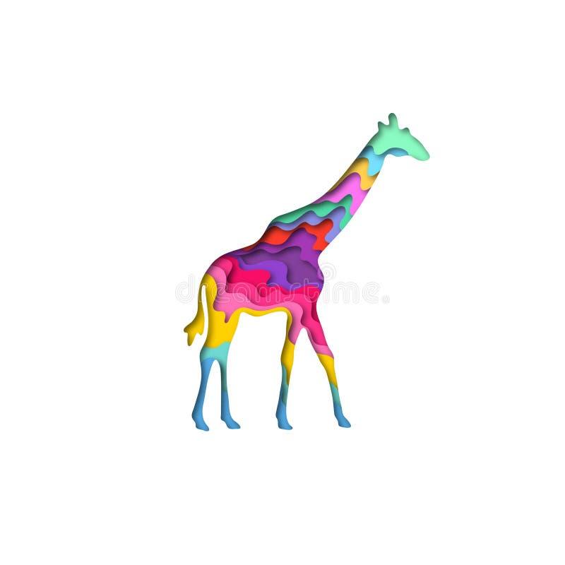 O papel cortou o girafa, origâmi da forma 3D dos animais do safari Projeto na moda da forma do conceito Ilustração do vetor ilustração do vetor