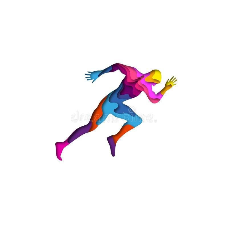 O papel cortou origâmi running da forma 3D do homem dos esportes Projeto na moda da forma do conceito Ilustração do vetor ilustração royalty free