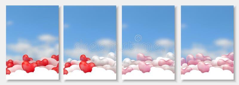 o papel 3d cortou a ilustração de corações vermelhos 3d, cor-de-rosa e brancos lustrosos do balão no fundo azul com nuvens Vetor ilustração stock