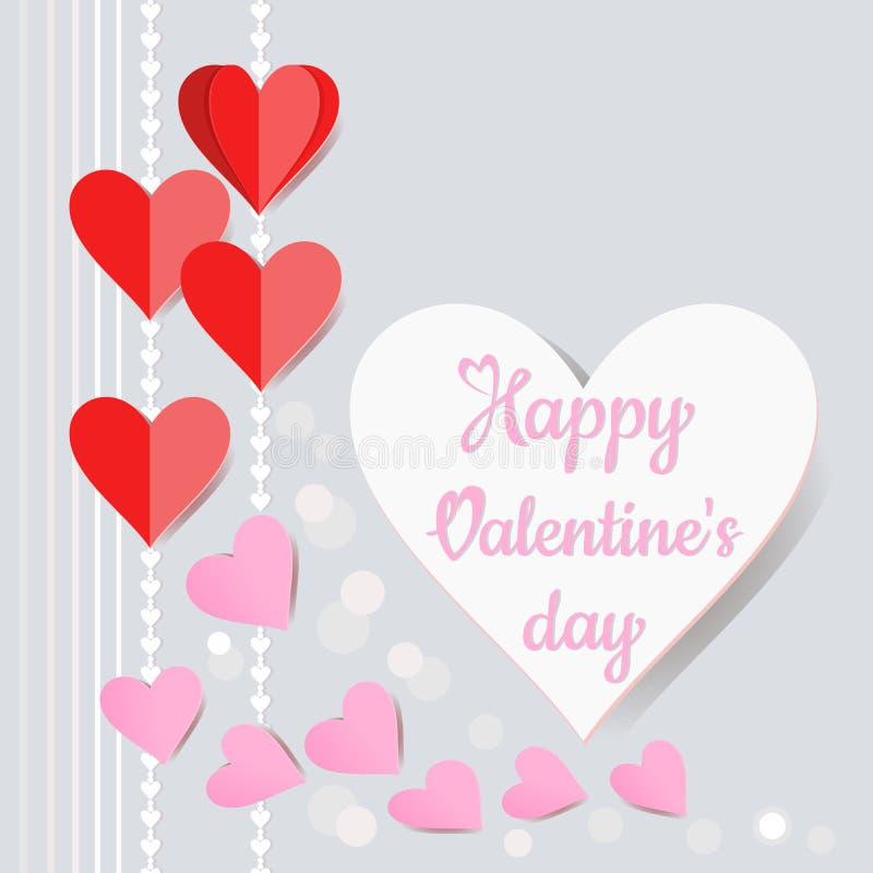 O papel da forma do coração cortou o estilo para o vetor do cartão do dia de Valentim ilustração stock