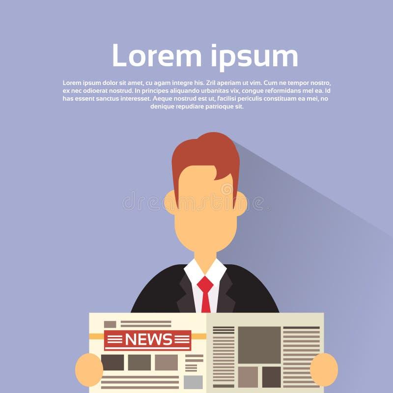 O papel da notícia da posse do homem de negócio leu o jornal ilustração do vetor