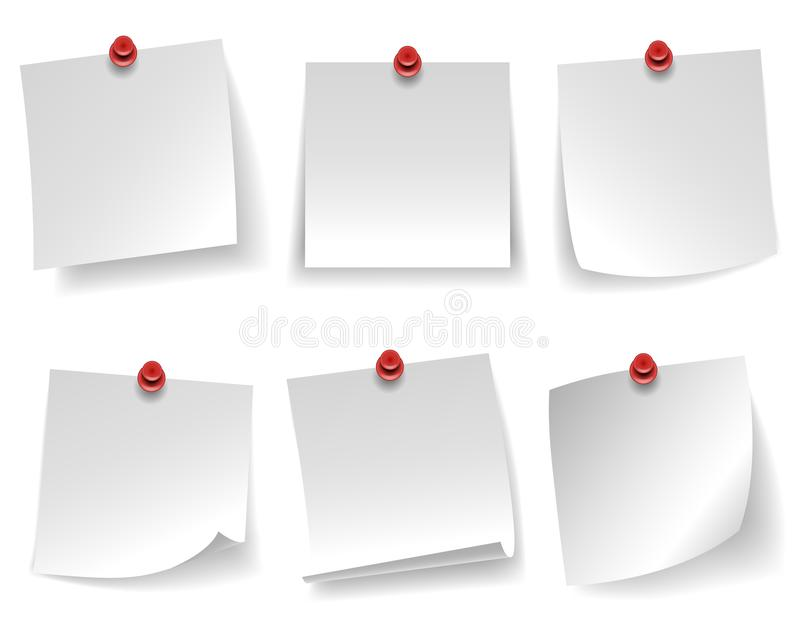 O papel de nota branco vazio fixado ondulou a mensagem vermelha de canto da tecla isolada na ilustração branca do vetor do fundo ilustração do vetor