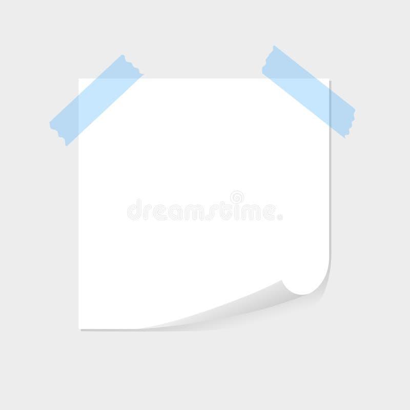 O papel de nota colou pela fita pegajosa azul, pelo sellotape com espaço para o texto ou pela mensagem no fundo cinzento Lista, f ilustração do vetor