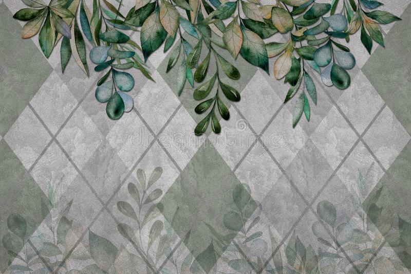 o papel de parede 3d, deixa a textura na parede do cimento, fundo geométrico Efeito das pinturas murais ilustração do vetor