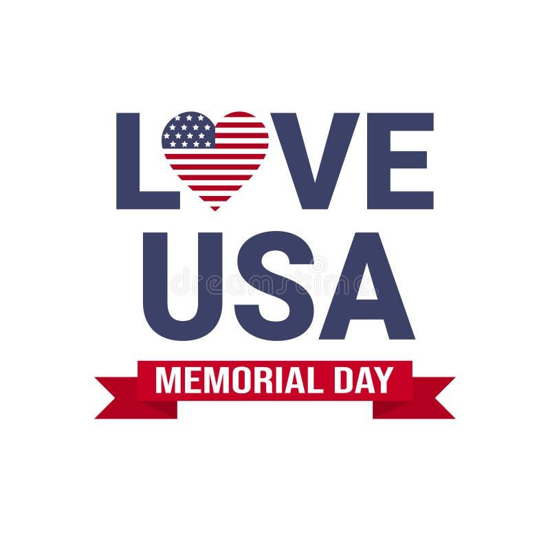 O papel de parede do cartão dos EUA do Memorial Day, bandeira americana nacional com estrelas ama no fundo branco, molde, plano ilustração stock