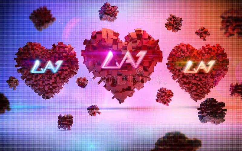 O papel de parede dos corações do dia do ` s do Valentim imagens de stock royalty free