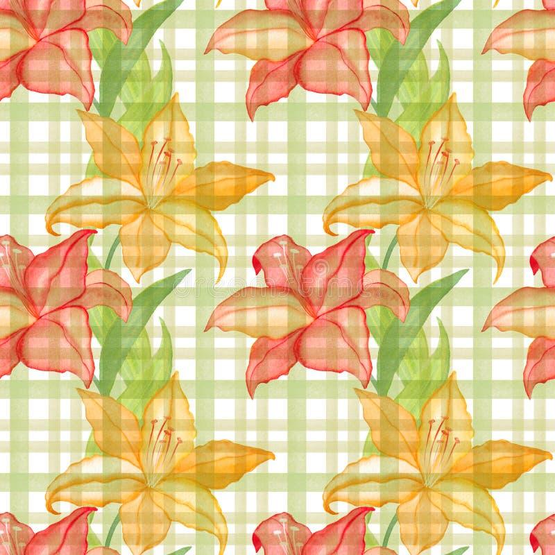 O papel de parede sem emenda com lilly floresce no fundo quadriculado, ilustração da aquarela ilustração royalty free