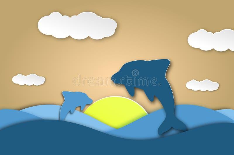 O papel do origâmi dos golfinhos do mar cortou o fundo azul do beira-mar Cartão subaquático das criaturas da caverna e do oceano ilustração do vetor