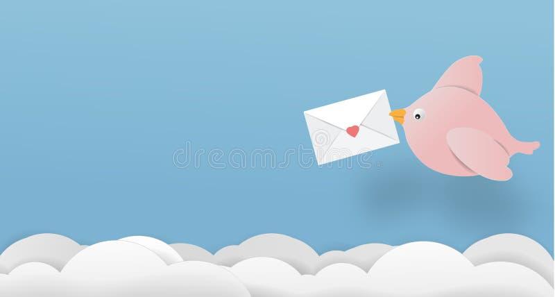 O papel do vetor de espaço da cópia da arte do papel de letra do pássaro do amor cortou o illu bonito ilustração do vetor