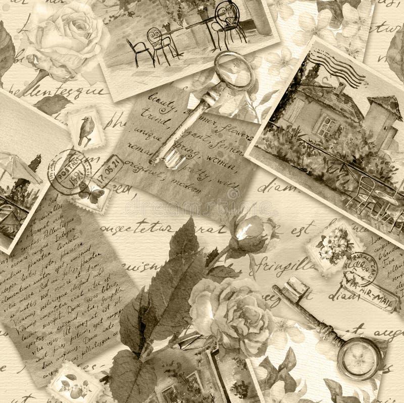 O papel envelhecido com notas escritas mão, fotos, selos, chaves, aquarela aumentou flores na cor retro do sepia Teste padr?o sem ilustração do vetor