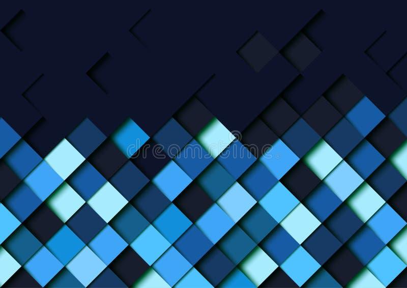 O papel geométrico quadrado azul abstrato da forma cortou o fundo da camada ilustração do vetor