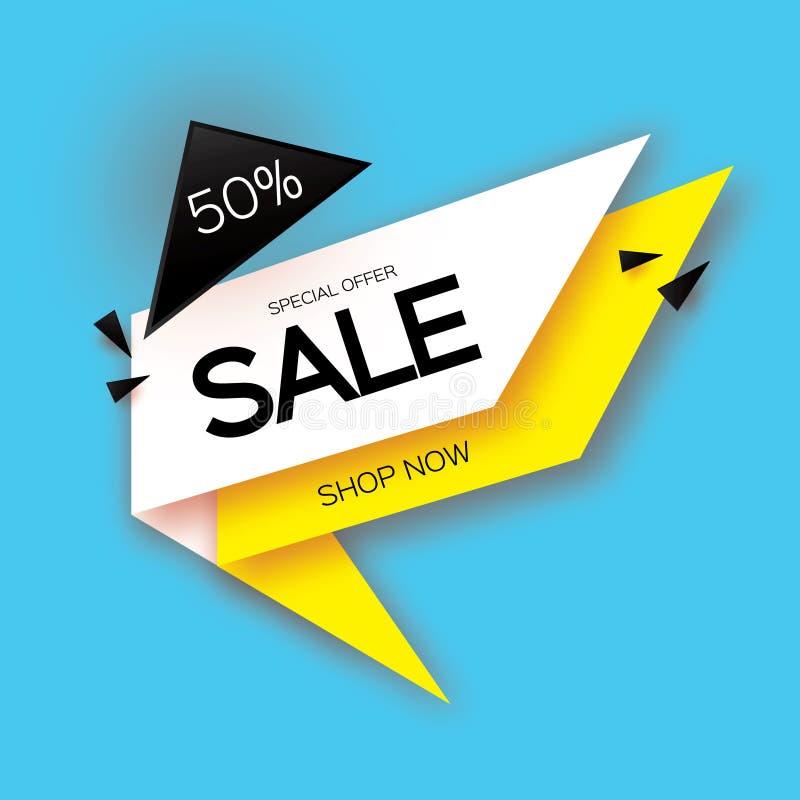 O papel moderno cortou a bandeira geométrica da venda, oferta especial, 50 por cento de disconto Temlate na moda da etiqueta da e ilustração do vetor