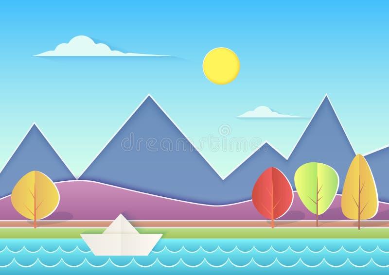 O papel na moda cuted a paisagem com montanhas, montes, rio, navio do papel e árvores Ilustração do vetor da paisagem do verão ilustração stock