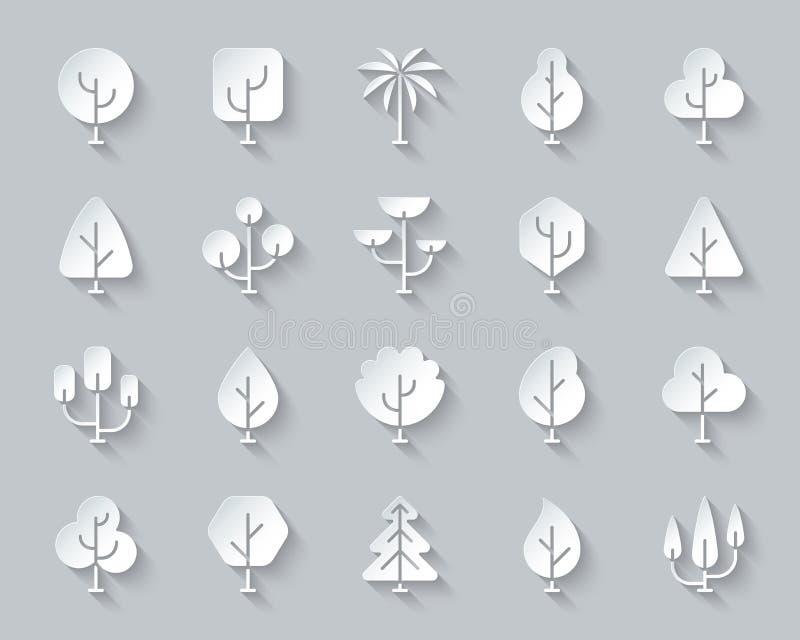 O papel simples das árvores geométricas cortou o grupo do vetor dos ícones ilustração stock