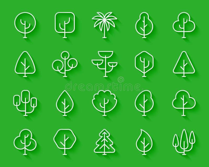 O papel simples das árvores geométricas cortou o grupo do vetor dos ícones ilustração do vetor