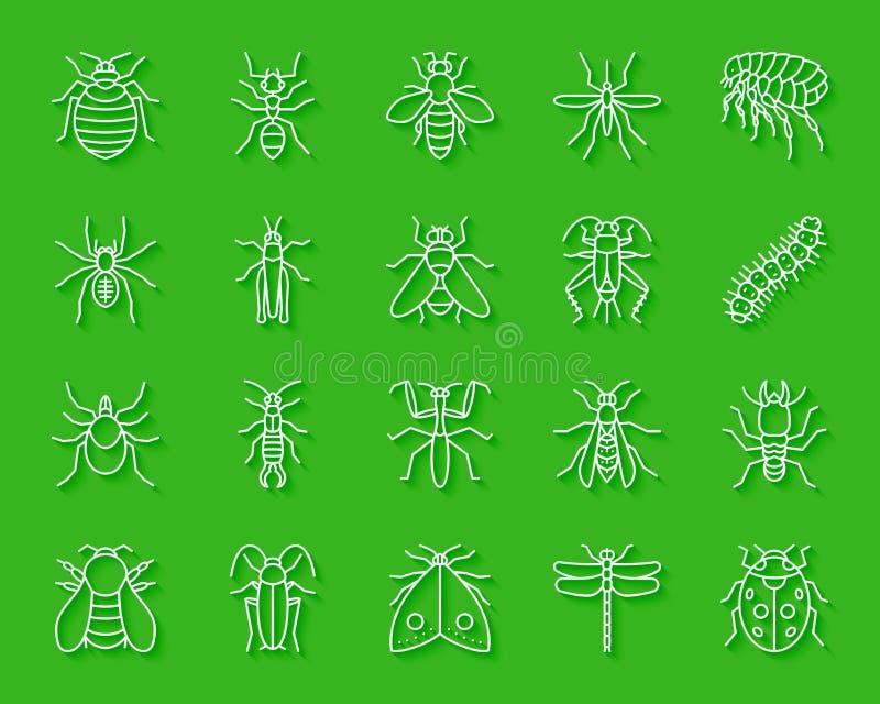 O papel simples do inseto do perigo cortou o grupo do vetor dos ícones ilustração stock