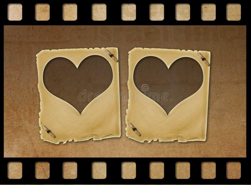 O papel velho desliza sob a forma dos corações no fundo do grunge ilustração royalty free
