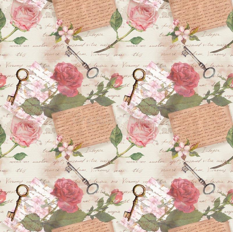 O papel velho do vintage com letras escritas mão, chaves envelhecidas, aquarela aumentou flores para o livro da sucata ilustração stock