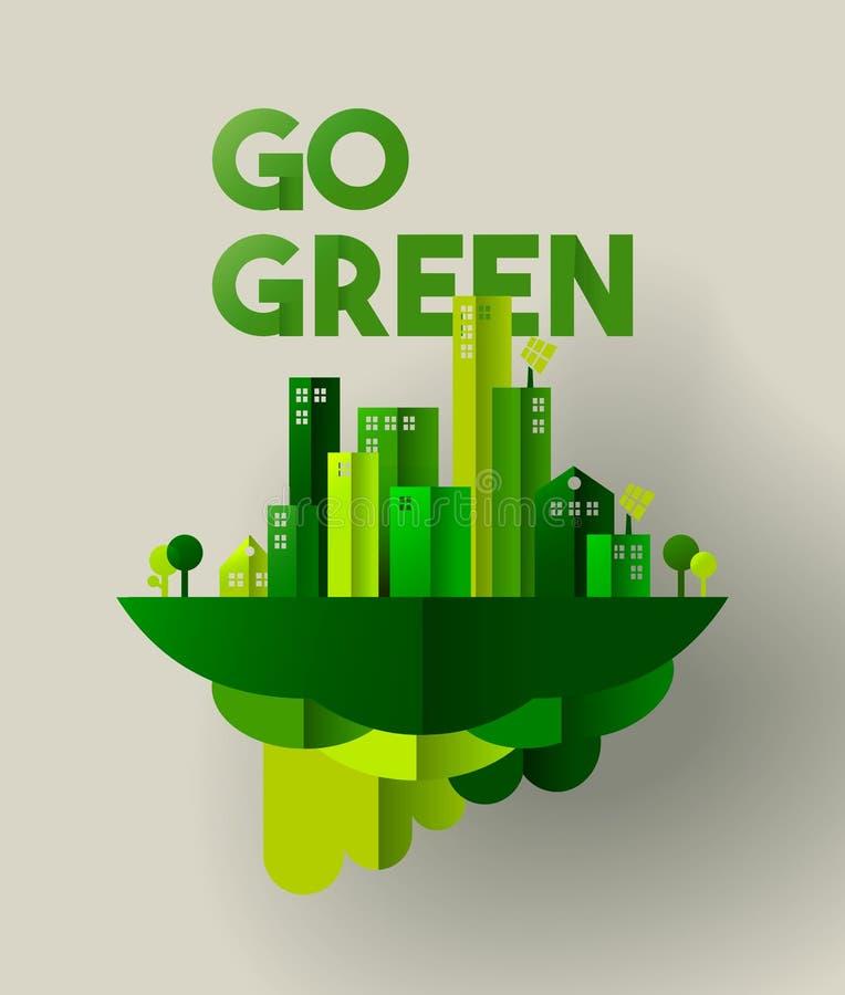 O papel verde da cidade cortou o conceito para o cuidado do ambiente ilustração royalty free