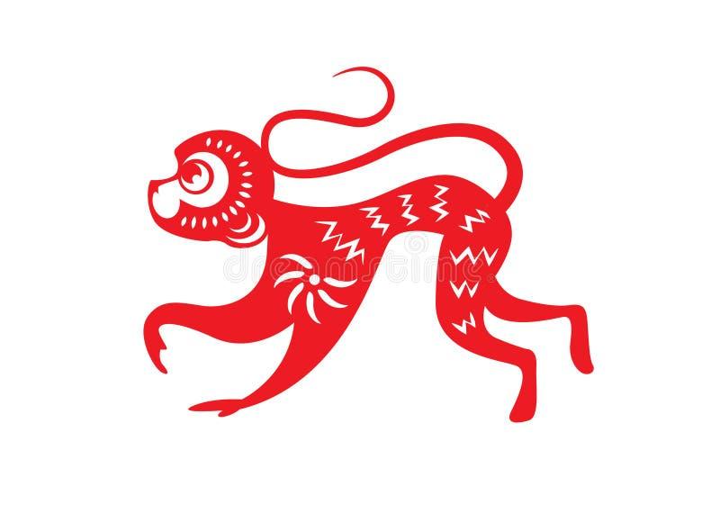 O papel vermelho cortou símbolos de um zodíaco do macaco ilustração royalty free