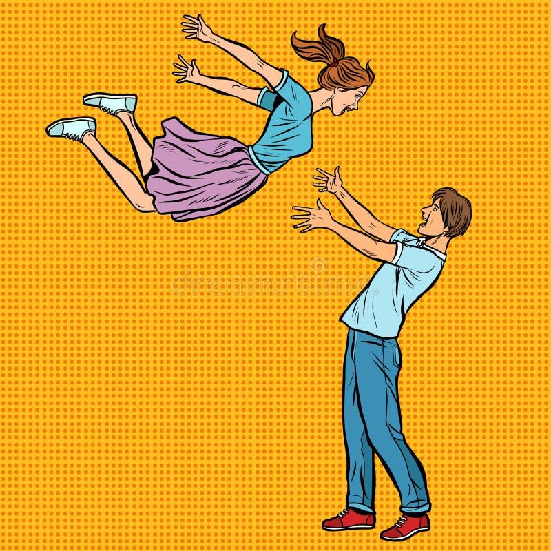 O par de amor abraça a reunião, menina voa nas mãos de homens novos ilustração royalty free