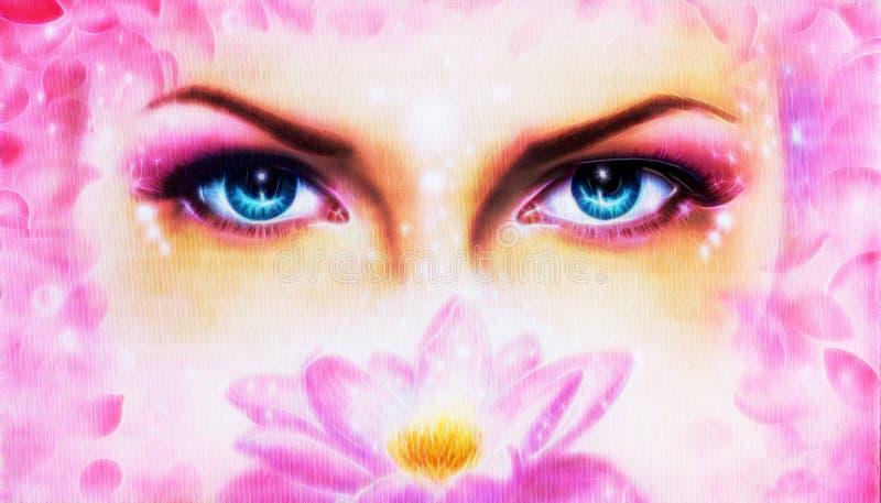 O par de mulheres azuis bonitas eyes a irradiação acima de encantar de seja ilustração stock
