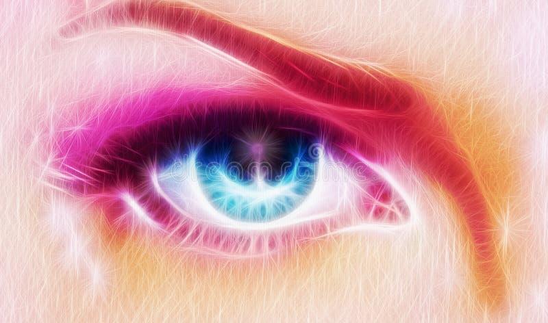 O par de mulheres azuis bonitas eyes a irradiação acima de encantar de seja ilustração royalty free