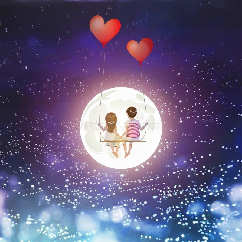 O par do amante dos desenhos animados está sentando-se no balanço vermelho do balão do coração, estando no fundo do céu da Lua ch ilustração do vetor