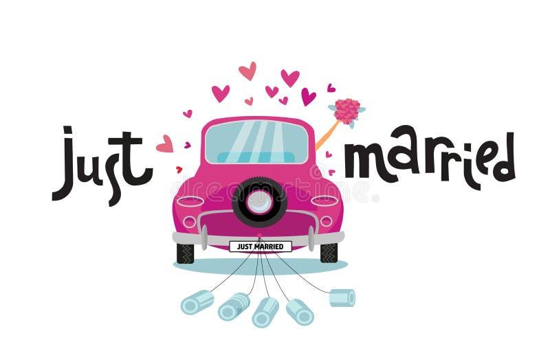 O par do recém-casado está conduzindo o carro cor-de-rosa do vintage para sua lua de mel com apenas sinal casado e as latas de ro ilustração royalty free