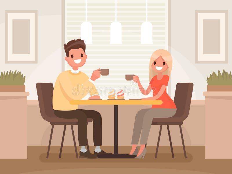 O par loving está bebendo o café em um café Um homem e uma mulher AR ilustração stock