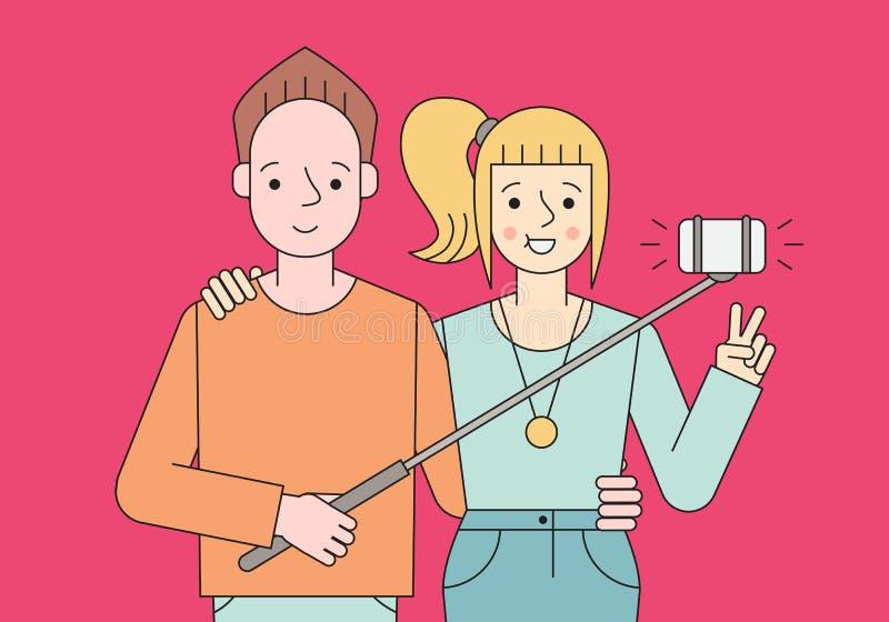 O par novo faz o selfie Projeto simples do esboço ilustração do vetor