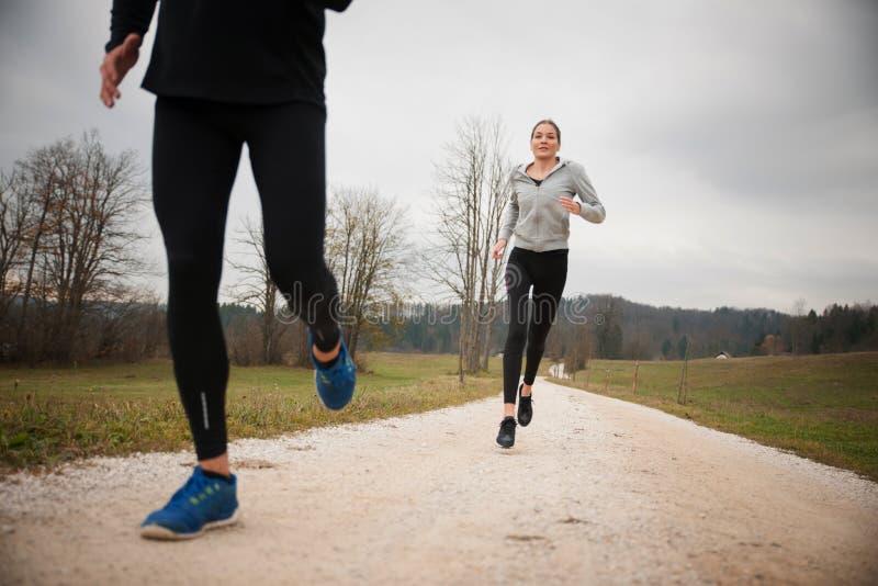 O par veautiful novo corre em um trajeto no parque na tarde do outono imagem de stock royalty free