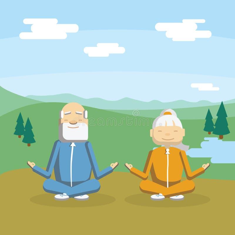 O par velho medita ilustração stock