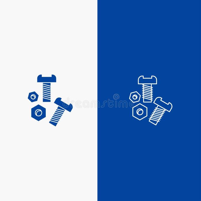 O parafuso, porca, parafuso, utiliza ferramentas do ícone contínuo azul da linha e do Glyph de bandeira do ícone contínuo da linh ilustração stock