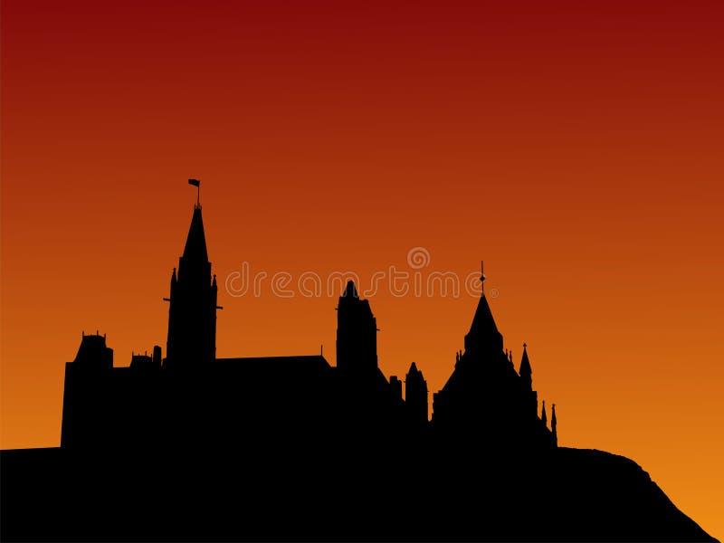 O parlamento canadense no por do sol ilustração royalty free