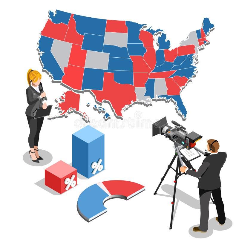 O parlamento de Infographic da notícia da eleição Vector povos isométricos ilustração stock