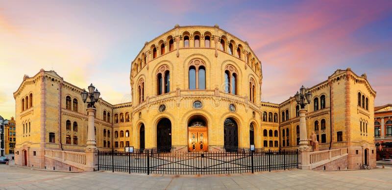O parlamento de Oslo - panorama foto de stock royalty free