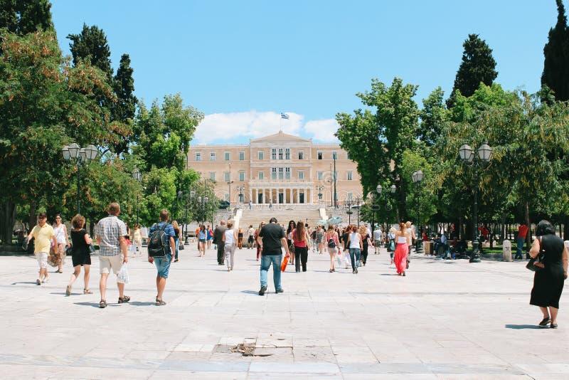 O parlamento e o Syntagma gregos esquadram em Atenas, Grécia fotografia de stock