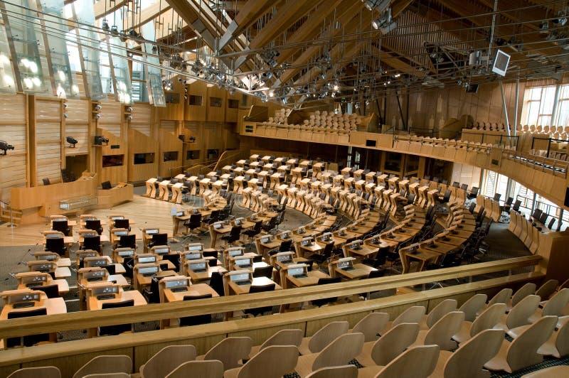 O parlamento escocês que debate a câmara fotografia de stock