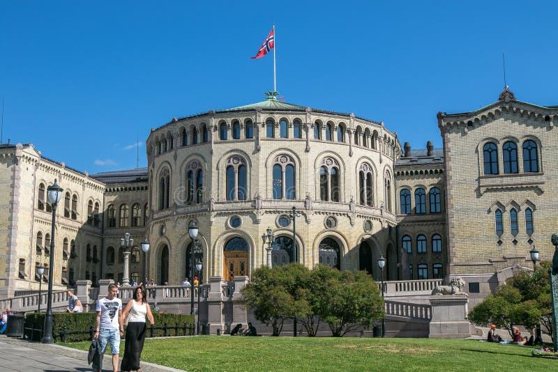 O parlamento norueguês foto de stock