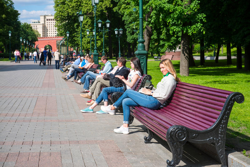 O parque central da recreação na capital de Rússia Moscou nomeou o ` Aleksandrovsky triste ` Este é o ponto de férias favorito do foto de stock