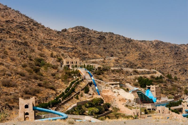 O parque de diversões abandonado nas montanhas perto de Taif, Arábia Saudita imagens de stock royalty free