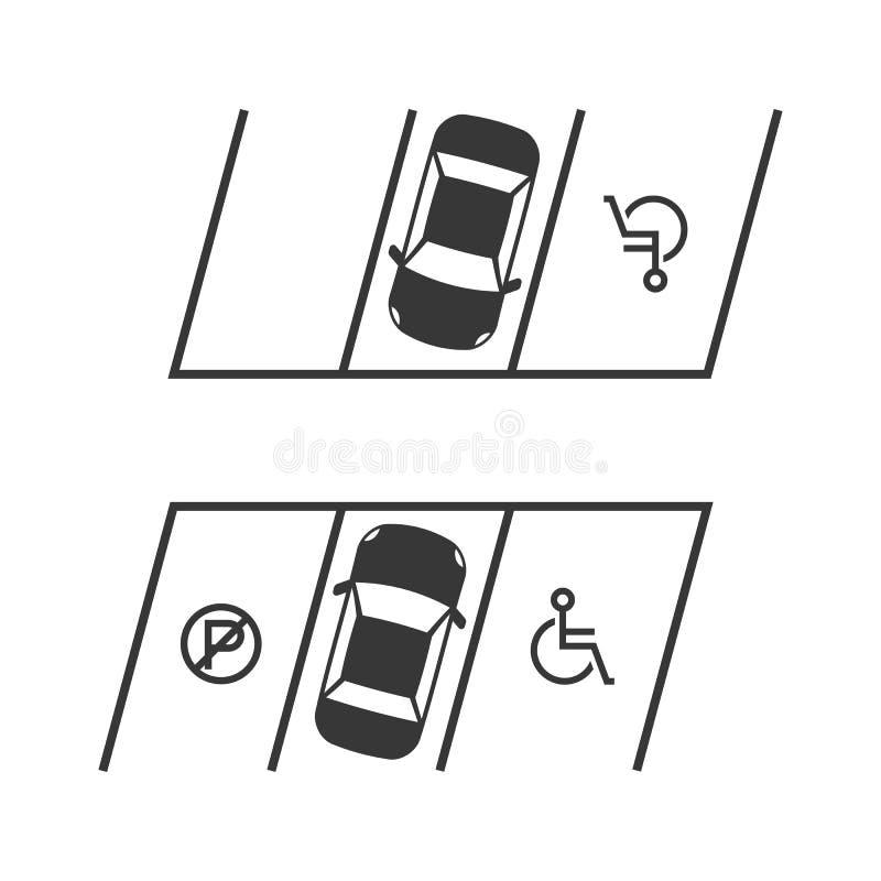 O parque de estacionamento com sinal deficiente e nenhum estacionamento assinam ilustração do vetor
