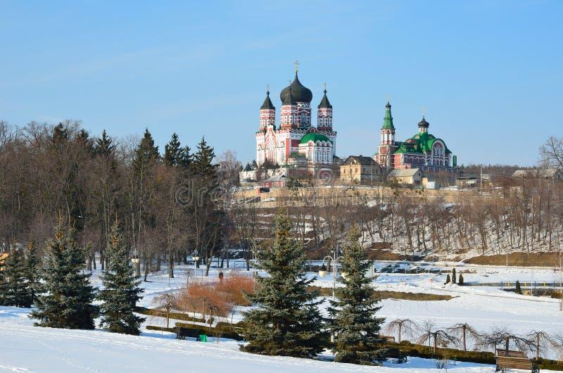 O parque de Feofaniya no inverno fotografia de stock