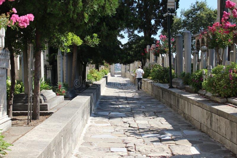 O parque de Suleymaniye Camii da mesquita de Suleymaniye fotos de stock